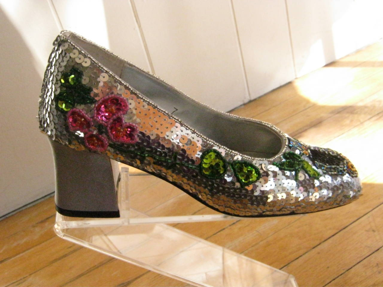 Vintage Yves Saint Laurent Sequin and Beaded Shoes 37 8