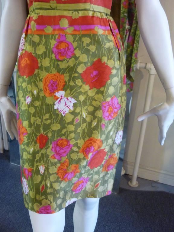 1960s Jeannette Alexander Silk Dress and Reversible Shawl For Sale 1