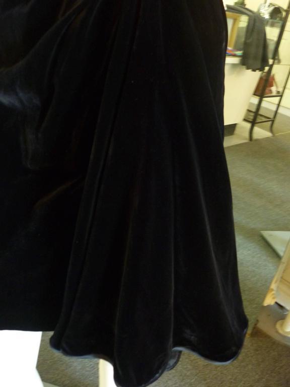 1990s Valentino Night Black Velvet Cocktail Dress For Sale 1