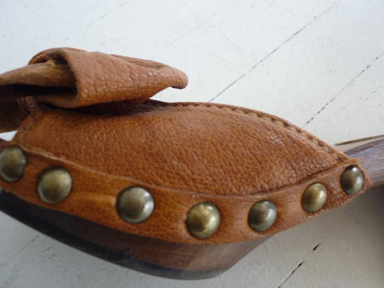 Miu Miu Tan Leather Studded Clogs 371/2 For Sale 1
