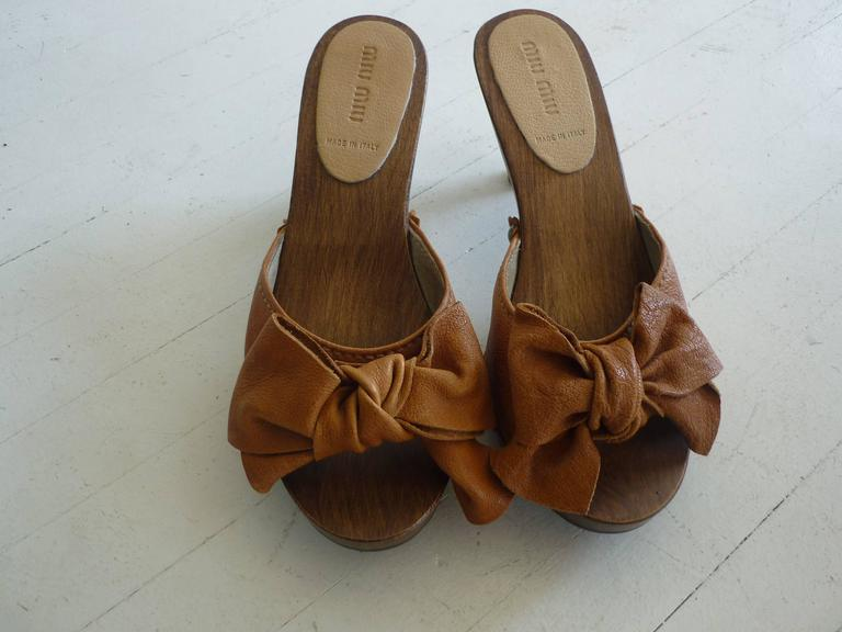 Miu Miu Tan Leather Studded Clogs 371/2 5