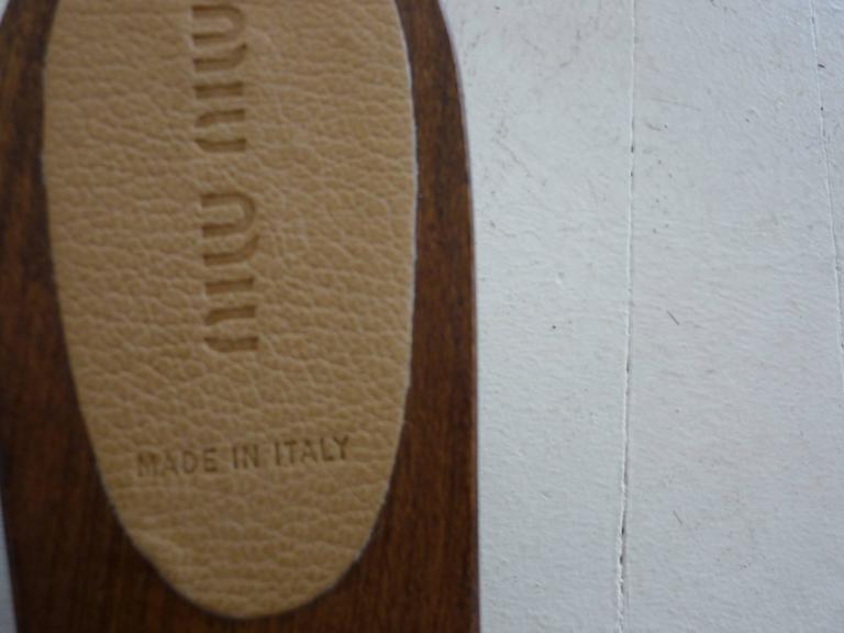 Miu Miu Tan Leather Studded Clogs 371/2 For Sale 2