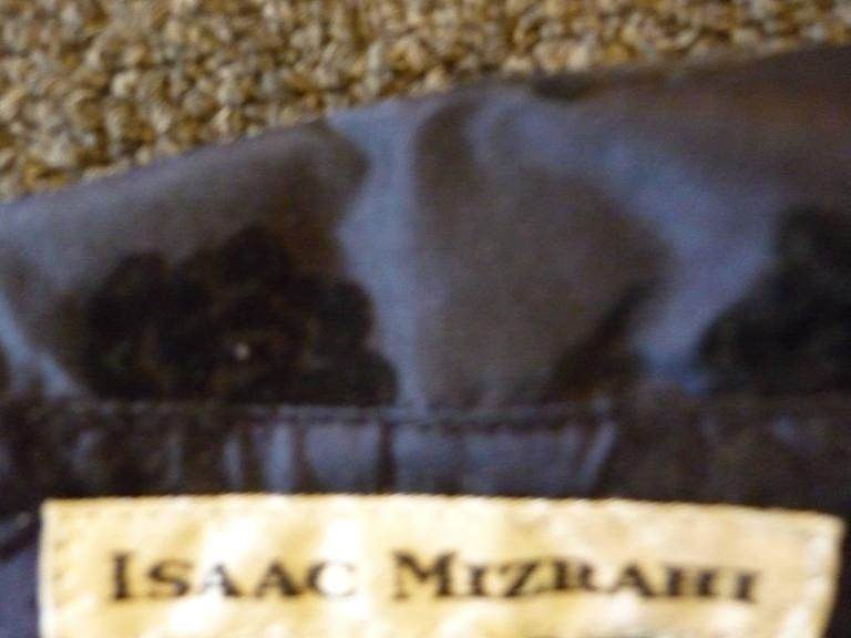 1990s Isaac Mizrahi Navy Blue Silk Jacket with Velvet Relief (8) 4