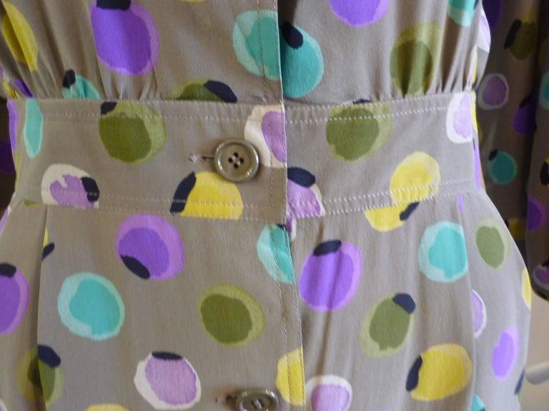 Gray 1990s Valentino Miss V Silk Dress (46 Itl) For Sale