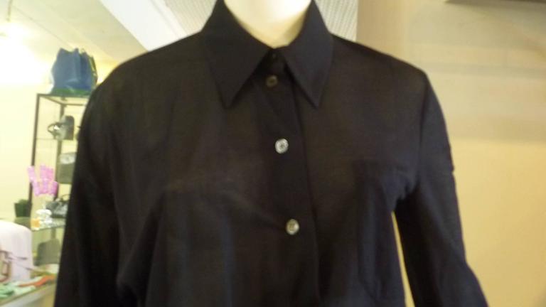 1990s Ann Demeulemeester Assymetrical Black Shirt (38 Belgium) 2
