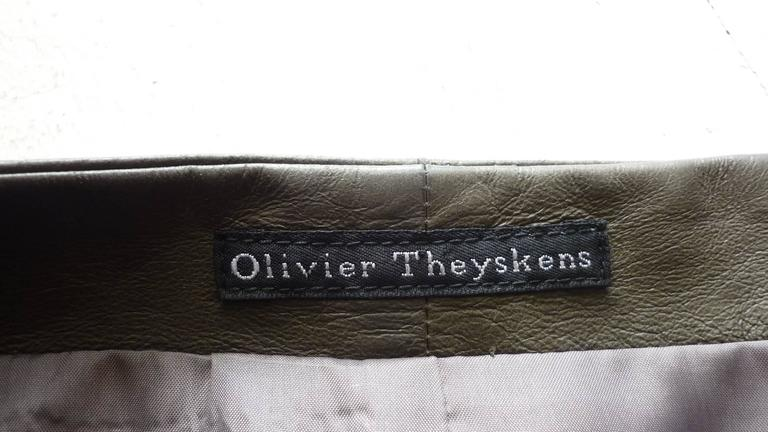 Women's Olivier Theyskens Olive Green Leather Top