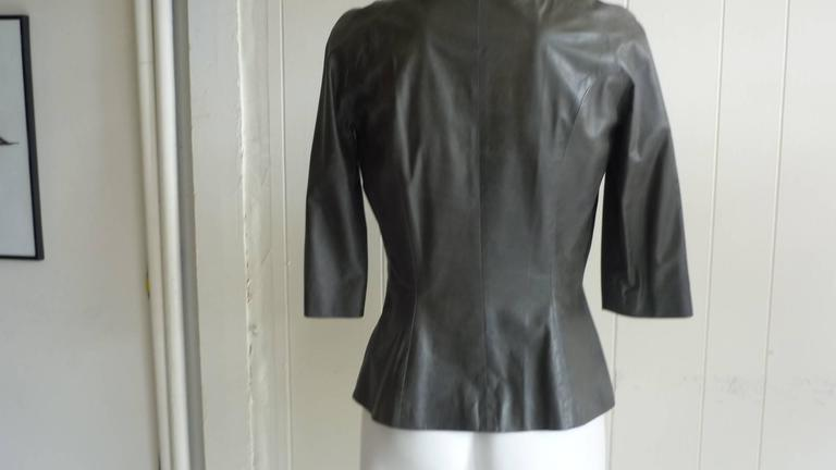 Olivier Theyskens Olive Green Leather Top  In Excellent Condition In Port Hope, ON