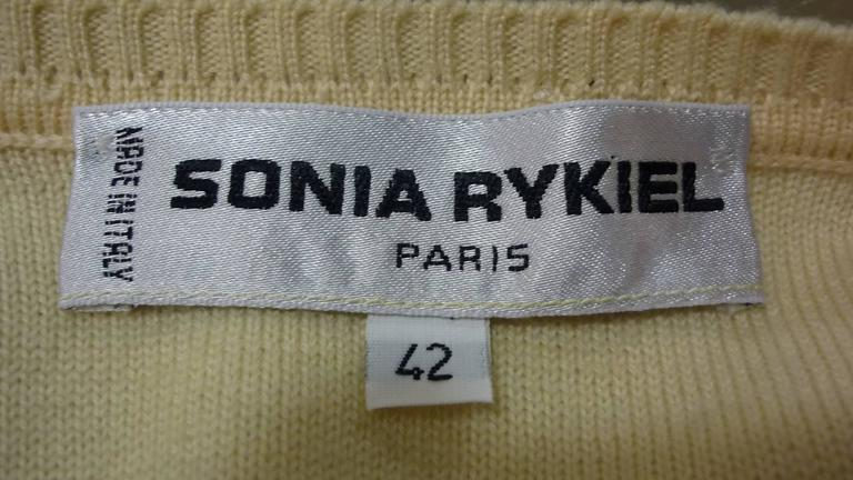 Sonia Rykiel Cream with Pink Stripes Wool Sweater (42 ITL) For Sale 3