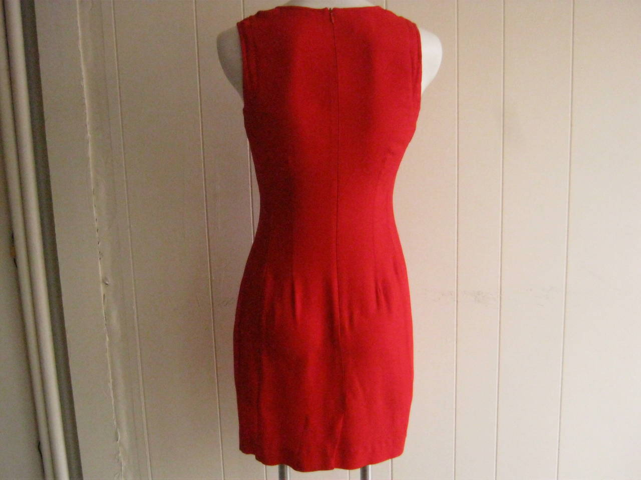 1990s Dries Van Noten Simple Red Dress (38) 4