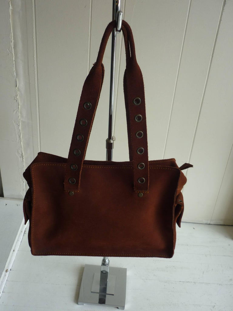 Dolce & Gabbana Chocolate Brown Suede Shoulder Bag W/Grommets 2