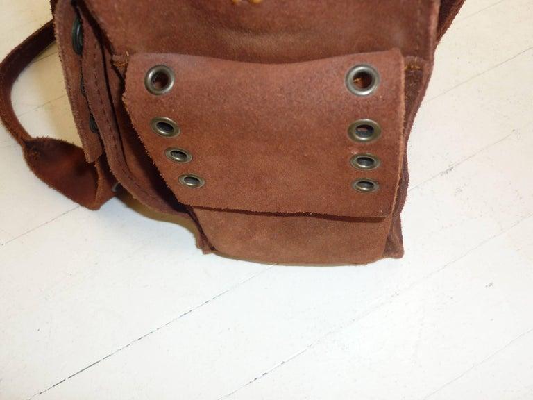 Black Dolce & Gabbana Chocolate Brown Suede Shoulder Bag W/Grommets For Sale