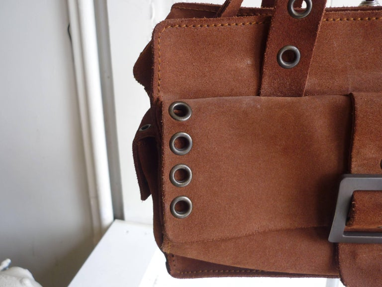 Women's Dolce & Gabbana Chocolate Brown Suede Shoulder Bag W/Grommets For Sale