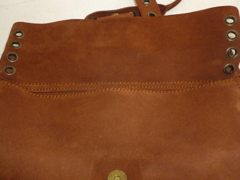 Dolce & Gabbana Chocolate Brown Suede Shoulder Bag W/Grommets For Sale 1