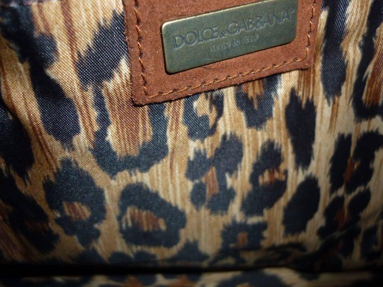 Dolce & Gabbana Chocolate Brown Suede Shoulder Bag W/Grommets For Sale 2