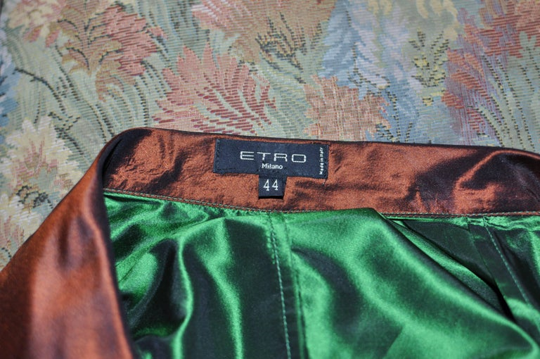 ETRO Green Silk Blouse with Brown Accents 44 Itl For Sale 1