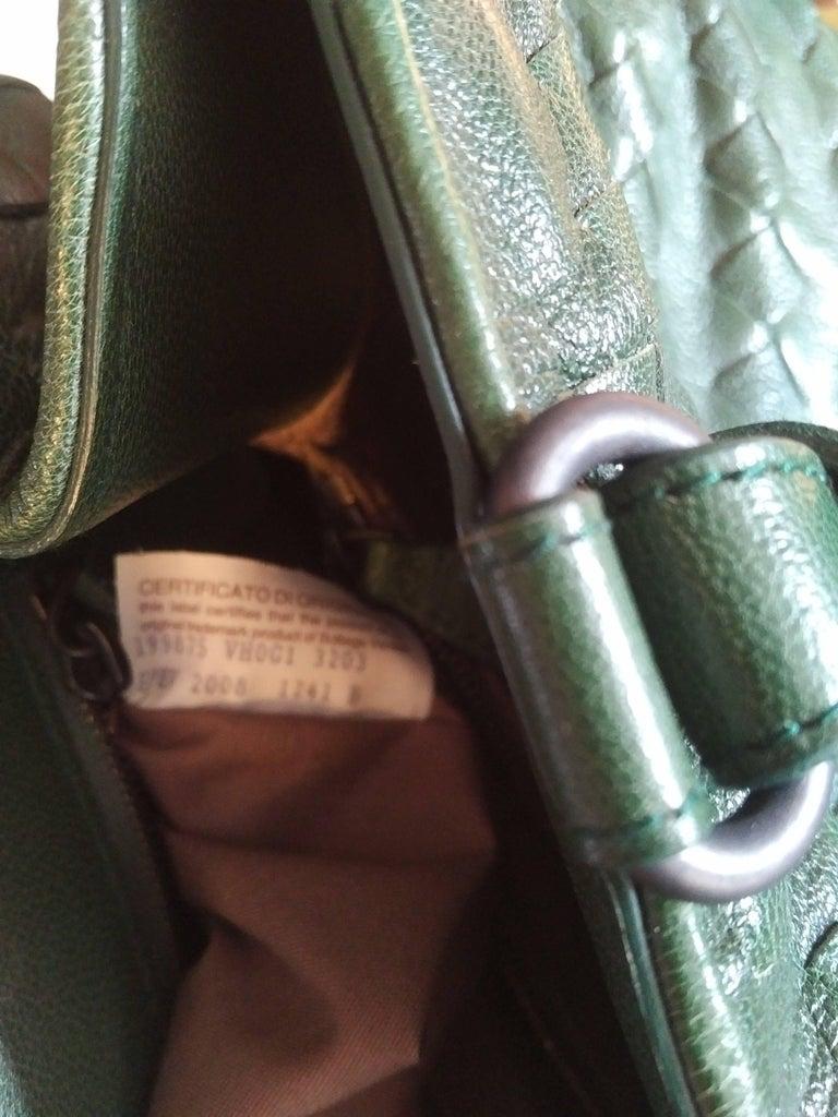 Gray Bottega Veneta Irish Green Intrecciato Nappa Leather Handbag, 2008  For Sale