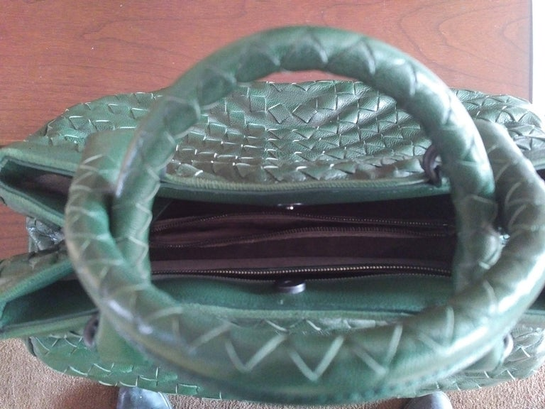 Bottega Veneta Irish Green Intrecciato Nappa Leather Handbag, 2008  For Sale 2