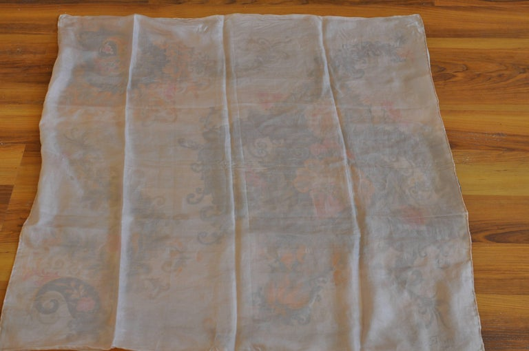 1930s Maggy Rouff Silk Scarf 30x30 For Sale 1