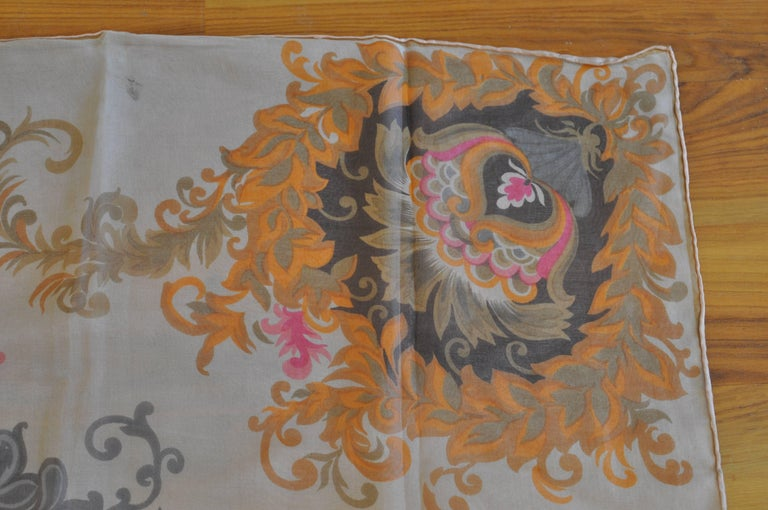 Women's 1930s Maggy Rouff Silk Scarf 30x30 For Sale