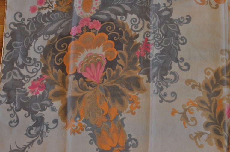 Gray 1930s Maggy Rouff Silk Scarf 30x30 For Sale