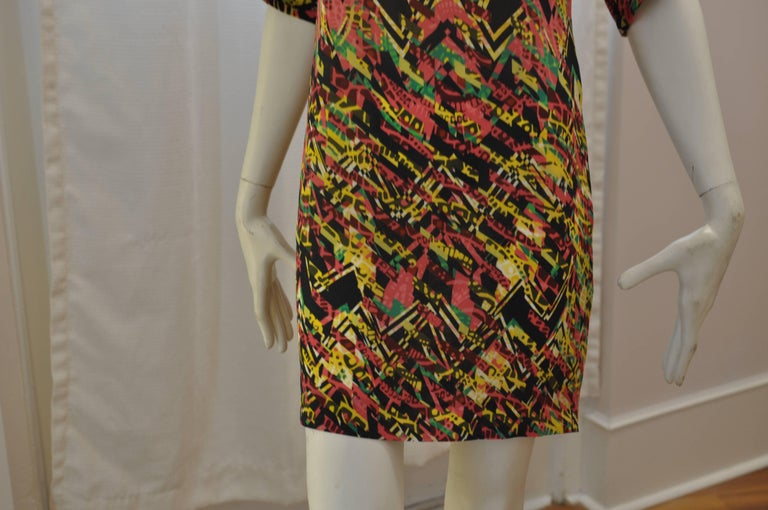 Brown M. Missoni Abstract Print Silk Dress (40 ITL) NWT  For Sale