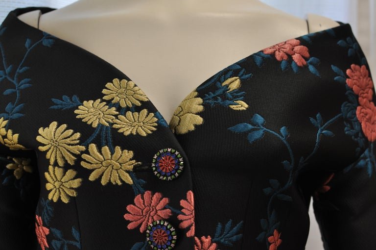 Fabulous ETRO Floral Brocade Off-the-Shoulder Jacket (42 ITL) W/T For Sale 1