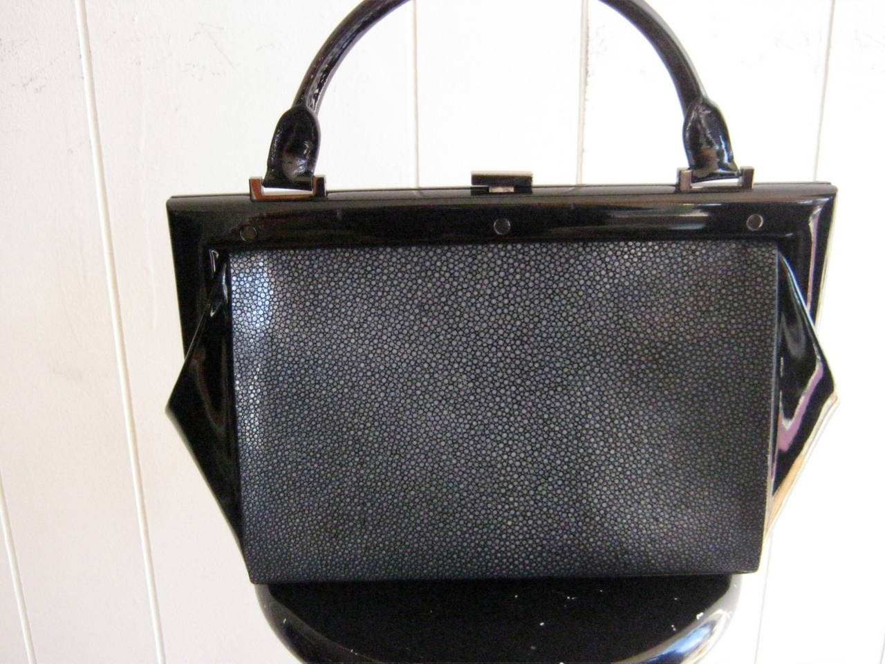 This Structured Stingray Handbag Has A Wood Frame Patent Leather Sides And Handle Very