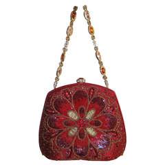 Judith Leiber Satin Beaded Floral Jeweled Evening Bag