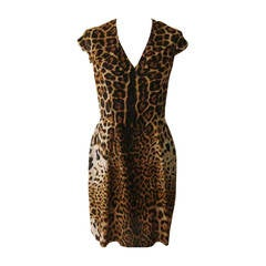 Yves Saint Laurent Leopard Silk Print Dress (40 Fr)