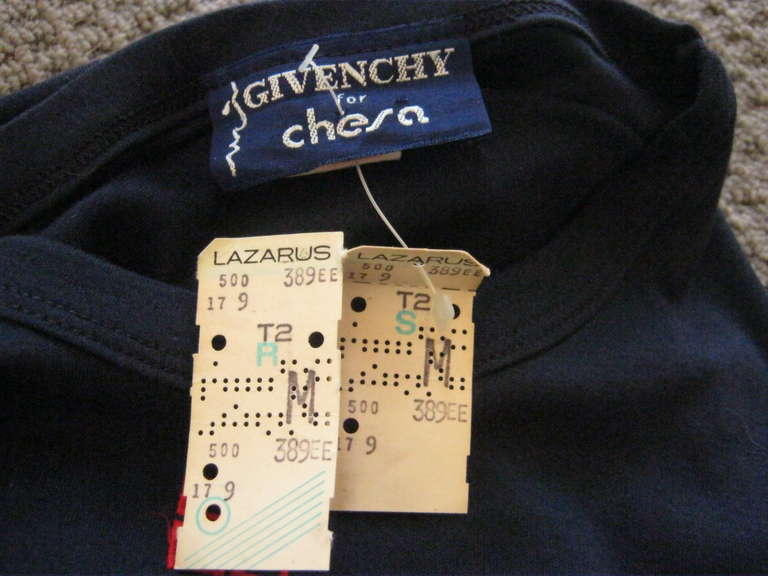 Women's 1970s Givenchy for Chesa T-shirt with tags For Sale