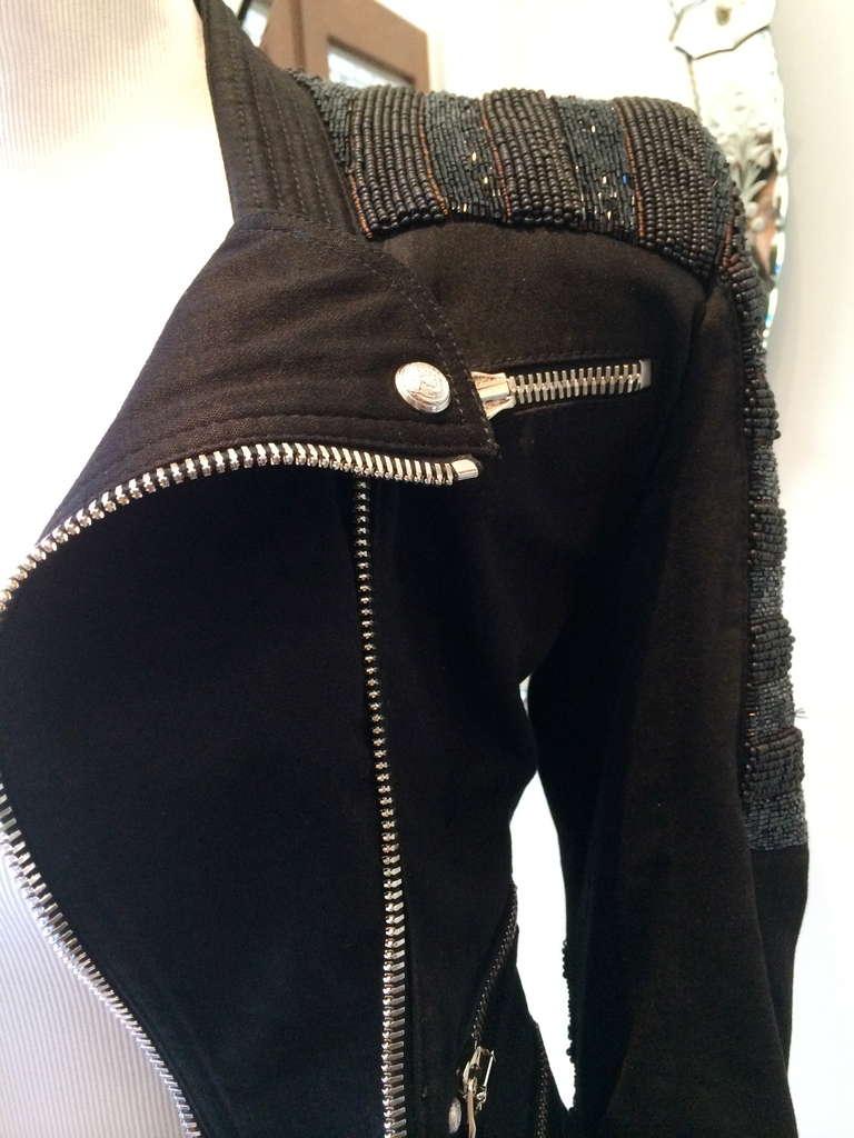 Balmain Beaded Motorcycle Jacket in Black For Sale 4