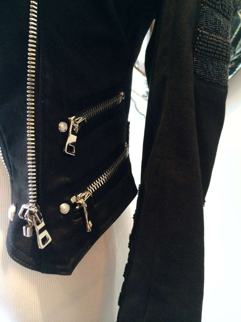 Balmain Beaded Motorcycle Jacket in Black For Sale 3