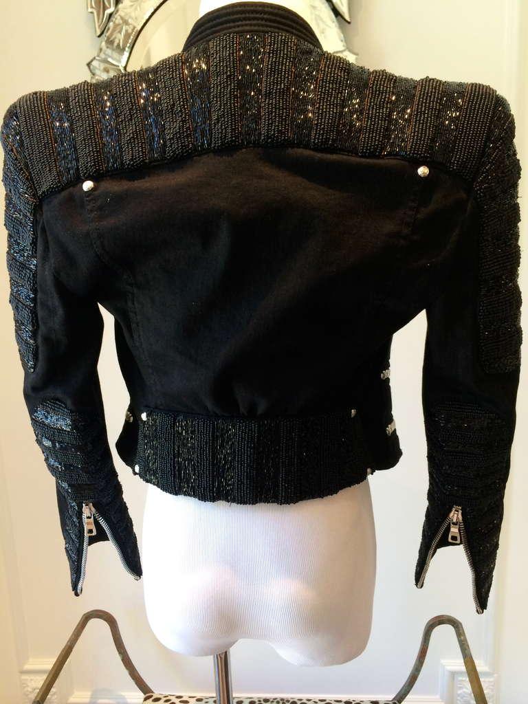Balmain Beaded Motorcycle Jacket in Black For Sale 2