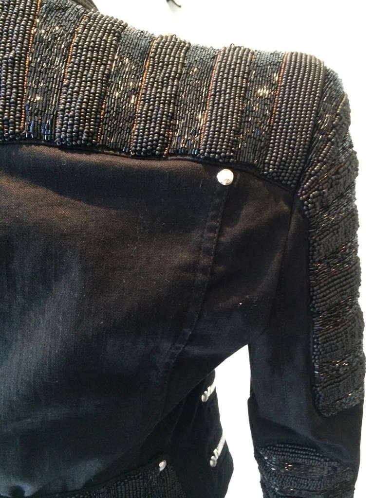 Balmain Beaded Motorcycle Jacket in Black For Sale 1