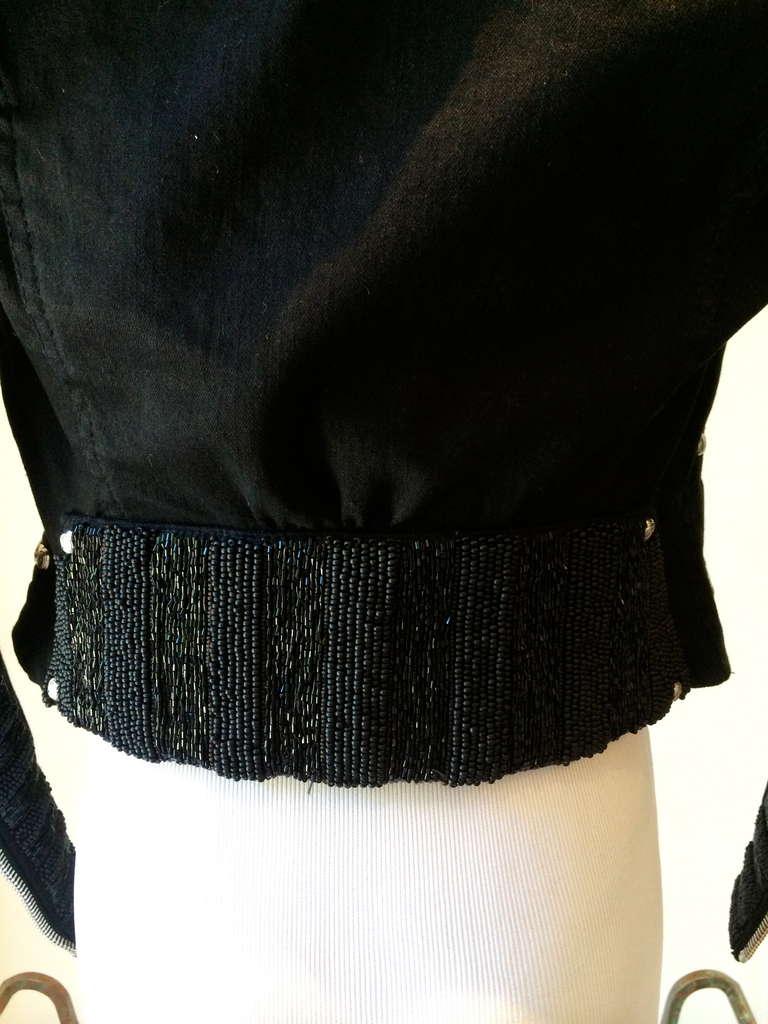 Women's Balmain Beaded Motorcycle Jacket in Black For Sale