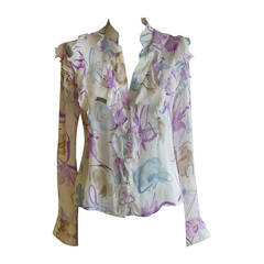 1990s Valentino Sheer Silk Signed Blouse