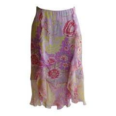 Emanuel Ungaro Silk Floral Ruffle Skirt