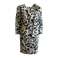 1980s Scaasi Silk Black and Cream Dress