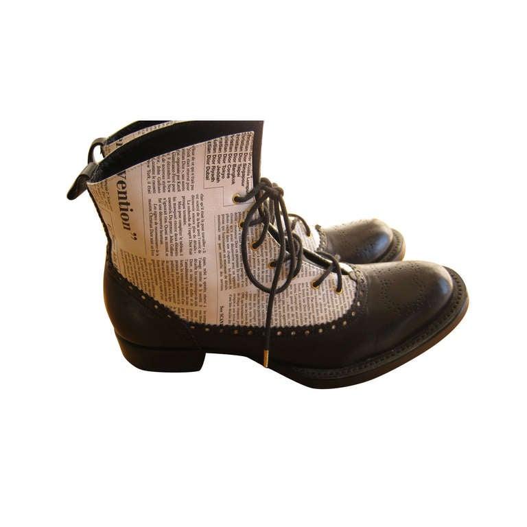 "Very Rare 2000 John Galliano for Dior ""newspaper print"" boots 1"