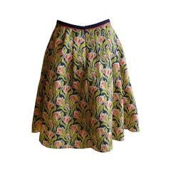 Jason Wu Splendid Box Pleat Silk Floral Skirt