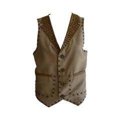 1999 Maison Martin Margiella Wool and Leather Studded Men's Waistcoat (46)