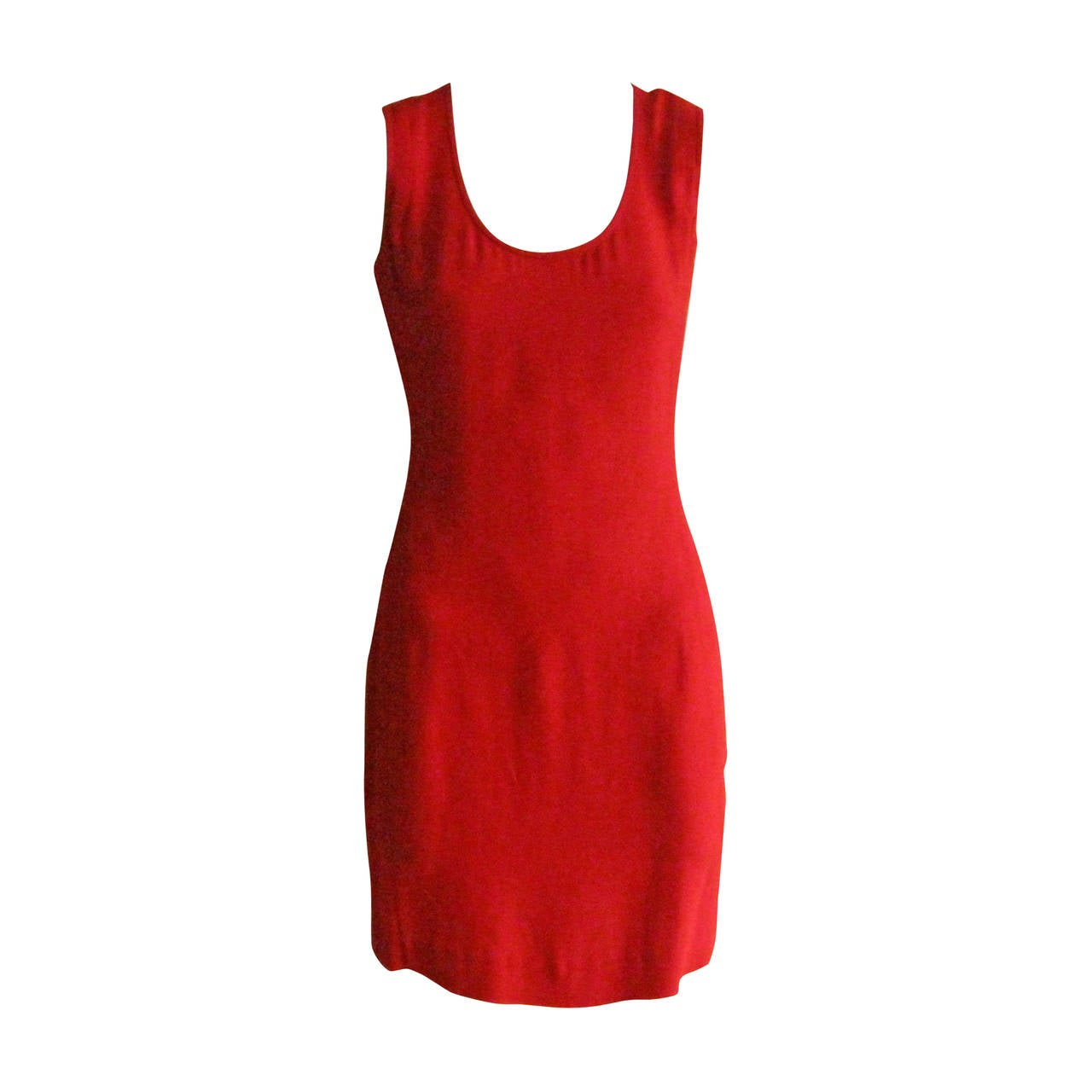 1990s Dries Van Noten Simple Red Dress (38) 1