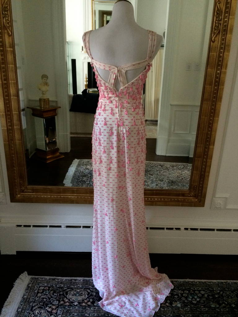 Exquisite Never Worn Beaded Evening Dress by Badgley Mischka Size 4 For Sale 2