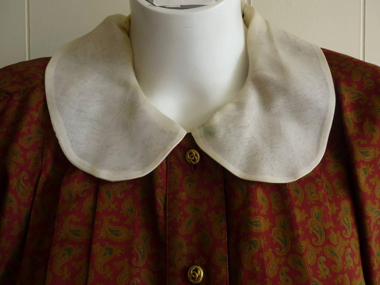 1980s CHANEL Paisley Silk Dress 2