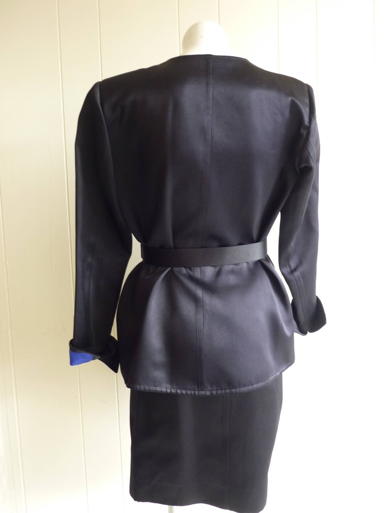 Yves Saint Laurent RG Black Peau De Soie Skirt Suit, 1980s In Good Condition For Sale In Port Hope, ON
