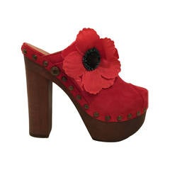 Chanel Red Suede Camelia Clogs 391/2