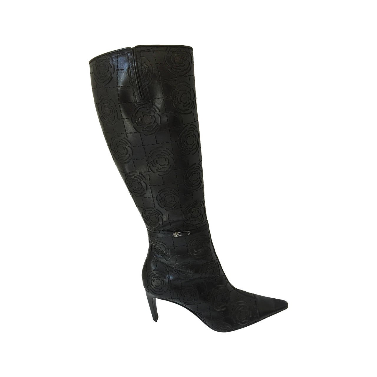 7b8e0eec4c37 Chanel Camelia Embossed Knee high Boots 371 2 at 1stdibs