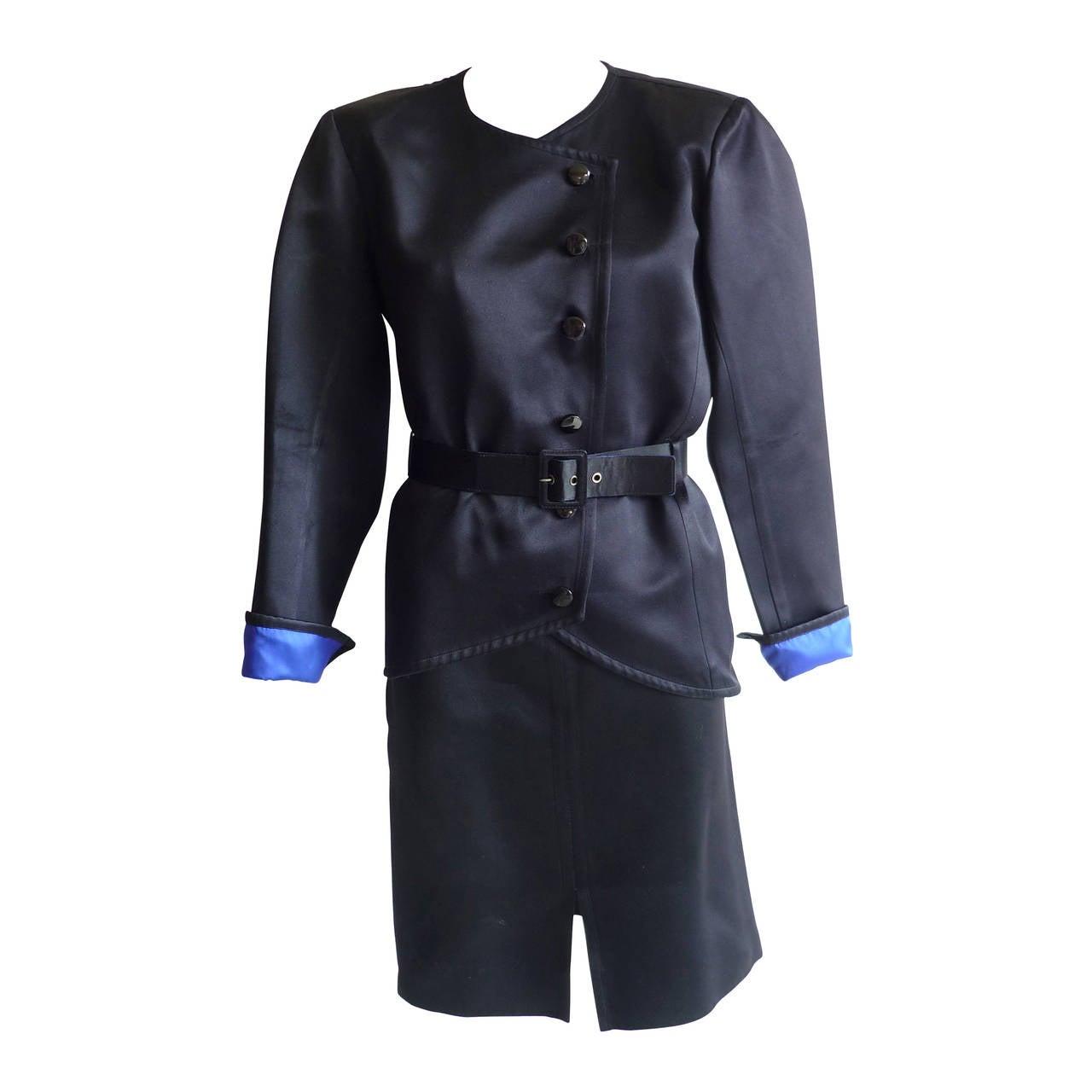 Yves Saint Laurent RG Black Peau De Soie Skirt Suit, 1980s