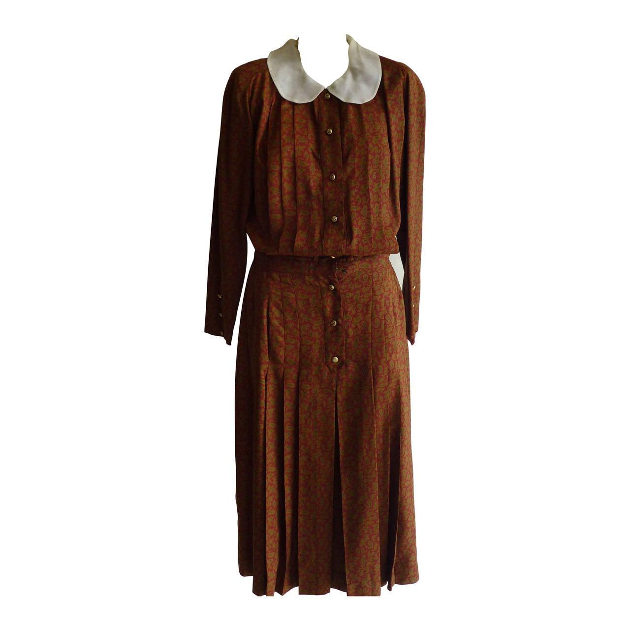 1980s CHANEL Paisley Silk Dress 1