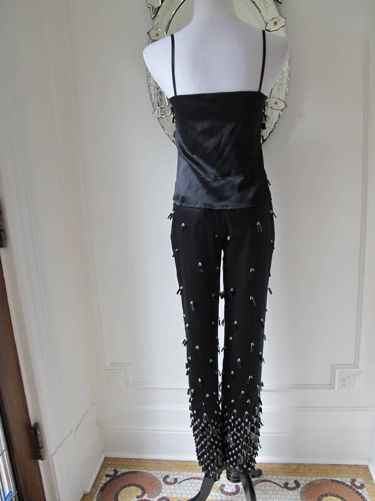 Beautiful Beaded Gianfranco Ferre Three Piece Cocktail Pantsuit with Bag 5